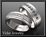 Black Ring Jewelry - His And Hers Matching Black And White Diamond 14k Wedding Band Set by Roi Avidar