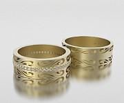 14k Jewelry - His And Hers Matching Diamond And 14k Yellow Gold Wedding Band Set by Roi Avidar