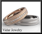Band Jewelry Originals - His And Hers Matching Diamond And 14kt Gold Wedding Band Set  by Roi Avidar
