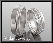 Band Jewelry Originals - His And Hers Matching Diamond And 14kt White Gold Wedding Band Set by Roi Avidar