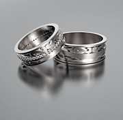 Band Jewelry Originals - His And Hers Matching Diamond And 14kt White Gold Wedding Ring Set by Roi Avidar