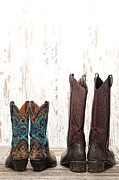 Cowgirl Boots Posters - His and Hers Poster by Olivier Le Queinec