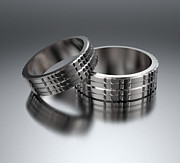 Band Jewelry Originals - His And Hers Simple 14K White Gold Matching Wedding Bands Set by Roi Avidar