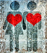 Joy Mixed Media - His and Hers Strength Of Heart by Angelina Vick