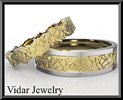 Featured Jewelry - His And Hers Two Gold Tone Lotus Flower Wedding Band Set by Roi Avidar