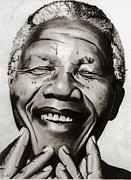 Africa Drawings Framed Prints - His Excellency Nelson Mandela Framed Print by Brian Broadway
