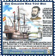 St. Augustine Mixed Media Posters - His Galleon Was Too Big Poster by Warren Clark