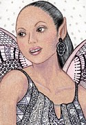 Pens Drawings Posters - Hispanic Fairy -- Pink is Her Favorite Color Poster by Sherry Goeben