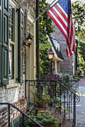 U.s.a. Flag Photos - Historic Burlington New Jersey by John Greim