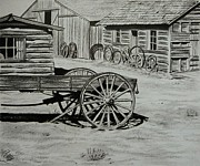 Log Cabins Drawings Posters - Historic Cabins Cody Wyoming Poster by Lucy Deane