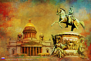 Russian Painting Metal Prints - Historic Center of Saint Petersburg Metal Print by Catf