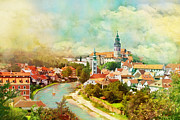 άγιος Νεκτάριος Framed Prints - Historic Centre of Cesky Krumlov Framed Print by Catf