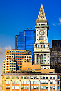 Historic Custom House Clock Tower - Boston Skyline Print by Mark E Tisdale