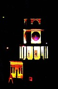 Halifax Artist John Malone Posters - Historic Halifax Town Clock at Night Poster by  Halifax Artist John Malone