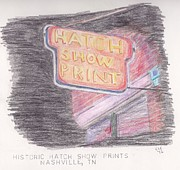 Nashville Drawings Framed Prints - Historic Hatch Show Print Framed Print by Christa Cruikshank