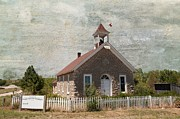 Old School House Digital Art - Historic Hinerville School  House  by Liane Wright
