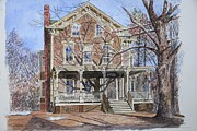 Historic Home Painting Prints - Historic Home Westifled New Jersey Print by Anthony Butera
