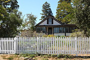 White Picket Fence Framed Prints - Historic Jack London Cottage and Garden in Glen Ellen California 5D24573 Framed Print by Wingsdomain Art and Photography