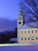 Monadnock Region Posters - Historic Jaffrey Meetinghouse and Mount Monadnock Poster by John Burk