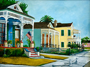 Historic Home Painting Prints - Historic Louisiana Homes Print by Elaine Hodges