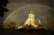 Mick Anderson Prints - Historic Methodist Church in Rainbow Light Print by Mick Anderson