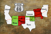 Road Sign Prints - Historic Route 66 - The Mother Road Print by Christine Till
