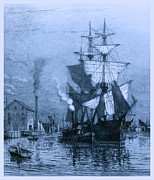 Historic Schooner Prints - Historic Seaport Blue Schooner Print by John Stephens