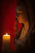 Gold Necklace Posters - Historical Woman Holding A Candle Poster by Lee Avison