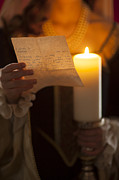 Candle Lit Prints - Historical Woman Reading A Letter By Candle Light Print by Lee Avison