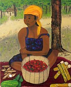 Fermentation Painting Prints - History behind Caribbean Food Produces Print by Nicole Jean-Louis
