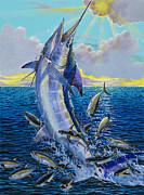 White Marlin Framed Prints - Hit and Miss Off0084 Framed Print by Carey Chen