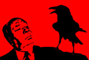 Macabre Digital Art Metal Prints - Hitchcock in Red Metal Print by Jera Sky