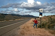 Ventage Framed Prints - Hitchhiker Route 66 Framed Print by Charles Haire