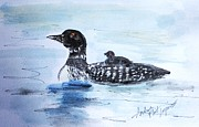 Loon Paintings - Hitching A Ride by Andrea Flint Lapins