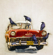 Cuba Mixed Media - Hitching a ride Cuba Style by Brian Barrer