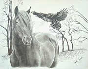 Wild Horses Drawings Originals - HitchN a Ride by Joette Snyder