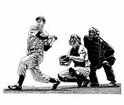 Catcher Drawings - Hitting Streak by Bruce Kay