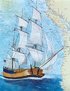 Map Art Painting Posters - HMS Endeavour Tall Sailing Ship Chart Map Art Peek Poster by Cathy Peek