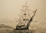 Surprise Drawings Prints - HMS Surprise Print by John Huntsman