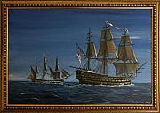 18th Century Painting Originals - HMS Victory Dawn by Richard John Holden