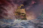 Galleons Painting Prints - H.M.S Victory Print by Jean Walker