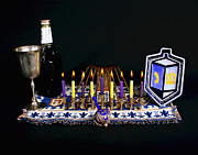 Hanukah Prints - Hnaukah Candle Lights Print by Larry Oskin