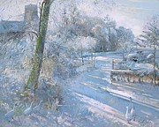 Church Tower Prints - Hoar Frost Morning Print by Timothy  Easton