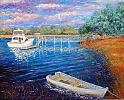Cloudy Day Paintings - Hobcaw Creek  by Dwain Ray