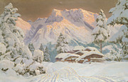 Snow Capped Mountains Posters - Hocheisgruppe Poster by Alwin Arnegger