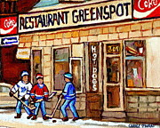 Fast Food Joints Prints - Hockey And Hotdogs At The Greenspot Diner Montreal Hockey Art Paintings Winter City Scenes Print by Carole Spandau