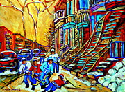 Whimsical Hockey Art Posters - Hockey Art Montreal Winter Scene Winding Staircases Kids Playing Street Hockey Painting  Poster by Carole Spandau