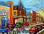 French Signs Paintings - Hockey Art Montreal Winter Street Scene Painting Chez Vito Boucherie And Fairmount Bagel by Carole Spandau