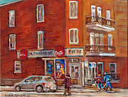 Coca-cola Sign Paintings - Hockey Game At Corner Store-montreal Depanneur-city Scene Painting-carole Spandau by Carole Spandau