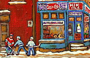 Kik Cola Paintings - Hockey Game At The Corner Kik Cola Depanneur  Resto Deli  - Verdun Winter Montreal Street Scene  by Carole Spandau